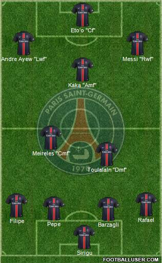 Paris Saint-Germain 4-2-4 football formation