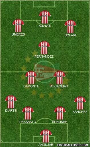 Estudiantes de La Plata 4-2-1-3 football formation