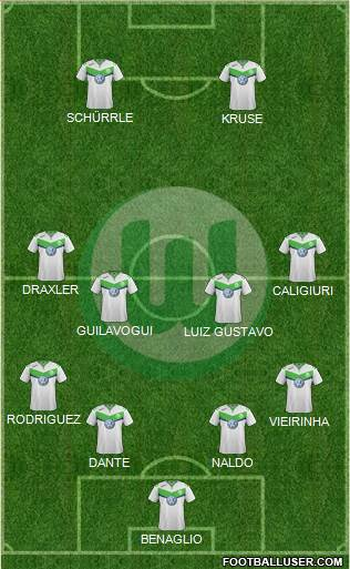 VfL Wolfsburg 4-4-2 football formation