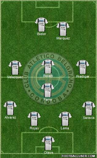 Belgrano de Córdoba 4-1-3-2 football formation