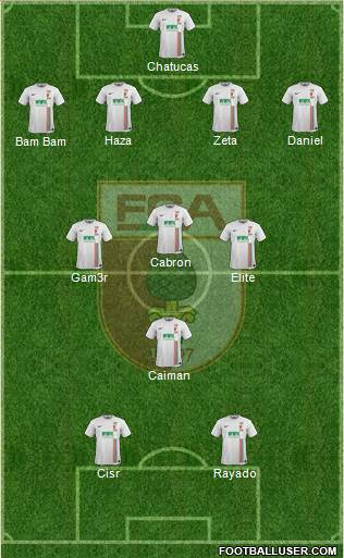 FC Augsburg 4-3-1-2 football formation