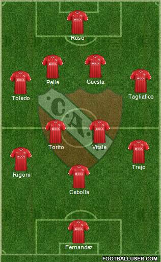 Independiente 4-4-1-1 football formation