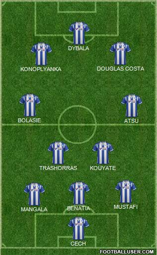 Wigan Athletic 4-1-3-2 football formation