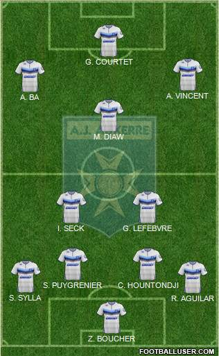 A.J. Auxerre 4-2-3-1 football formation
