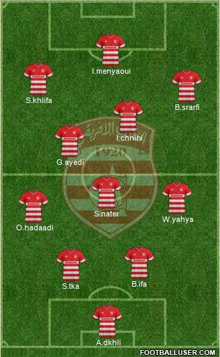 Club Africain Tunis 4-2-1-3 football formation