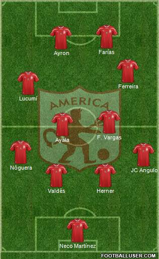 CD América de Cali 4-2-2-2 football formation