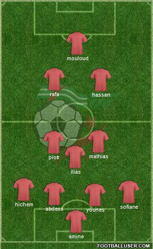 Algeria 4-3-2-1 football formation