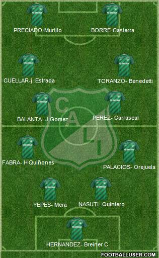 AC Deportivo Cali 4-4-2 football formation