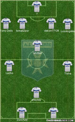 A.J. Auxerre 4-4-2 football formation