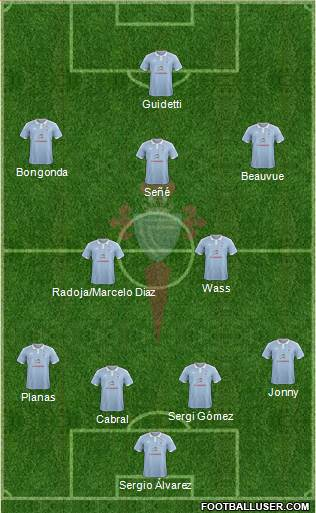 R.C. Celta S.A.D. 4-1-4-1 football formation