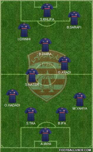 Club Africain Tunis 4-3-1-2 football formation