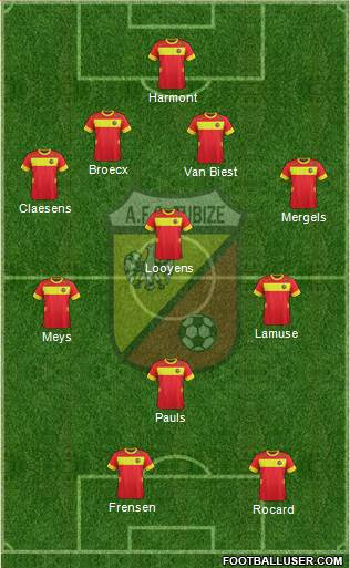 AFC Tubize 4-1-3-2 football formation
