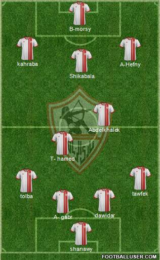 Zamalek Sporting Club 4-2-1-3 football formation