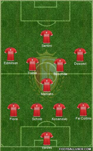 R Standard de Liège 4-3-2-1 football formation