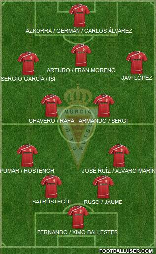 Real Murcia C.F., S.A.D. 4-3-2-1 football formation