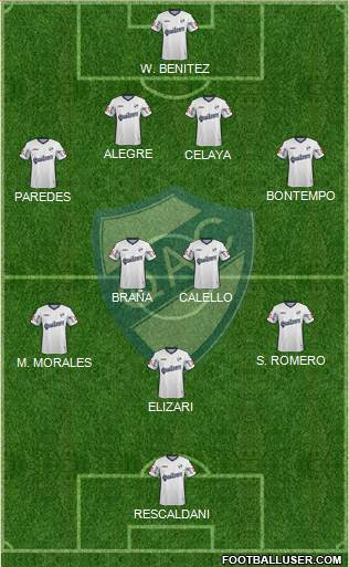 Quilmes 4-4-1-1 football formation