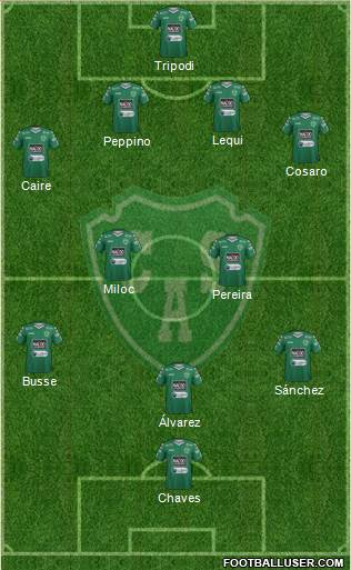Sarmiento de Junín 4-4-2 football formation