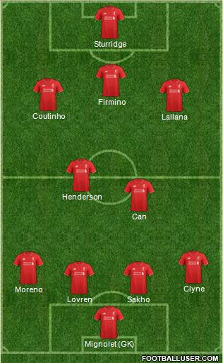 Liverpool 4-1-2-3 football formation