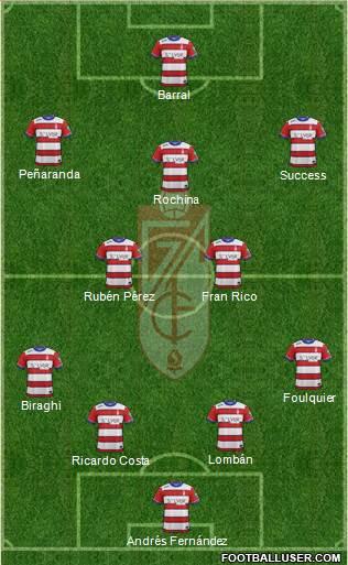 Granada C.F. 4-2-3-1 football formation