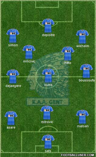 KAA Gent 4-4-2 football formation