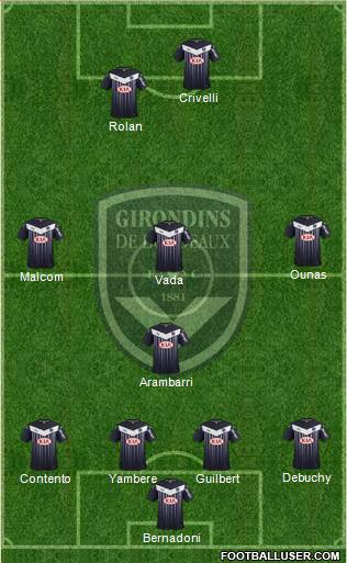 FC Girondins de Bordeaux 4-3-1-2 football formation