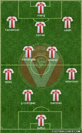 Varese 4-2-3-1 football formation