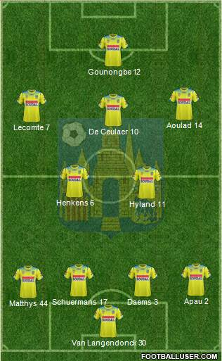 KVC Westerlo 4-2-3-1 football formation