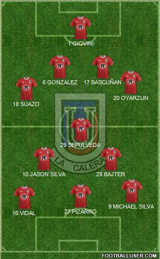 CD Unión La Calera S.A.D.P. 4-5-1 football formation