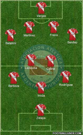 Argentinos Juniors 4-3-2-1 football formation