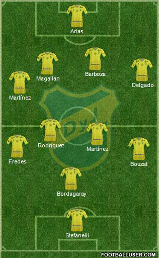 Defensa y Justicia 4-4-1-1 football formation
