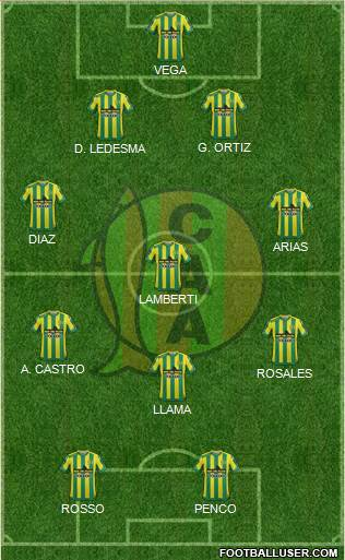 Aldosivi 4-3-1-2 football formation
