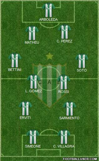 Banfield 4-2-2-2 football formation