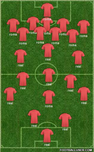 Championship Manager Team 3-4-2-1 football formation