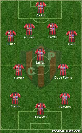 Patronato de Paraná 4-3-3 football formation