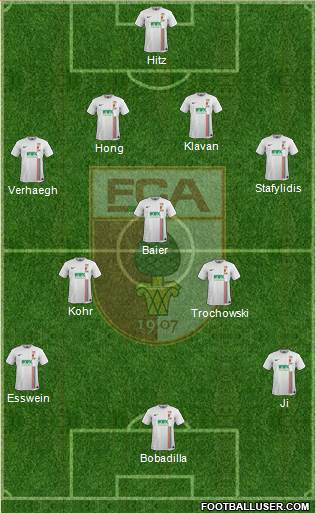 FC Augsburg 4-5-1 football formation