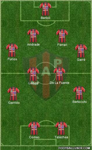 Patronato de Paraná 4-4-2 football formation