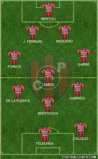 Patronato de Paraná 4-3-1-2 football formation