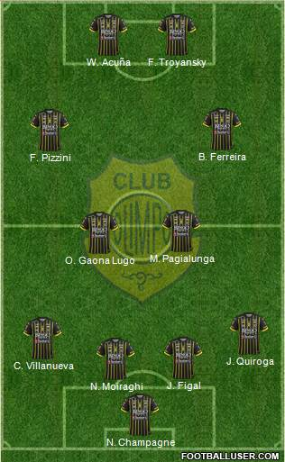 Olimpo de Bahía Blanca 4-2-2-2 football formation