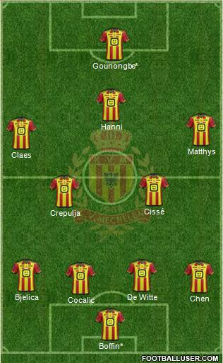 Yellow Red KV Mechelen football formation