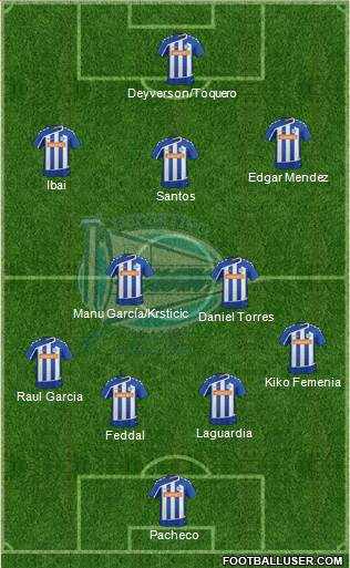 D. Alavés S.A.D. 4-1-3-2 football formation