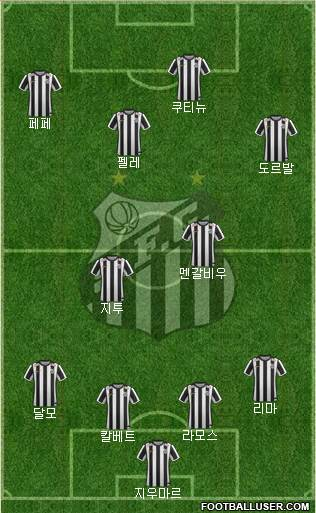 Santos FC 3-5-1-1 football formation