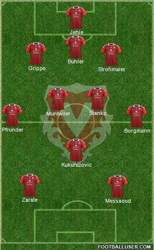 FC Vaduz 3-4-1-2 football formation