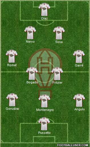 Huracán 3-5-1-1 football formation