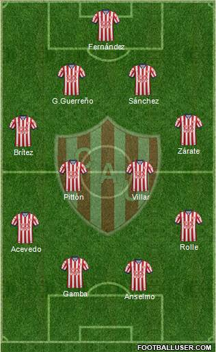 Unión de Santa Fe 4-2-3-1 football formation