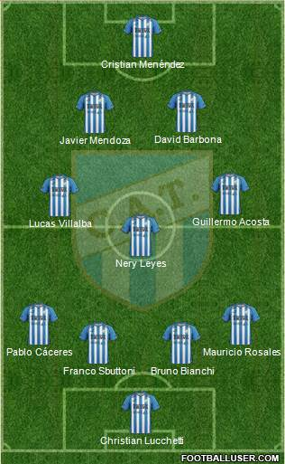 Atlético Tucumán 4-3-2-1 football formation