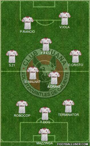Xoloitzcuintles de Tijuana 3-5-2 football formation