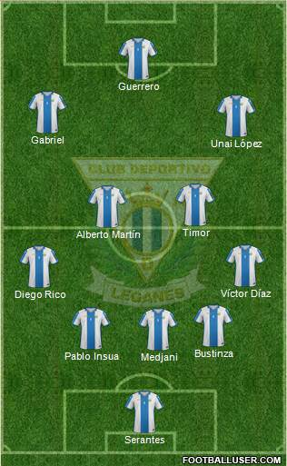C.D. Leganés S.A.D. 4-1-4-1 football formation