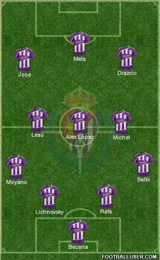 R. Valladolid C.F., S.A.D. 5-3-2 football formation