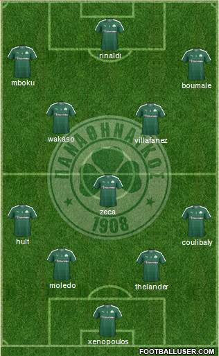Panathinaikos AO 4-1-2-3 football formation