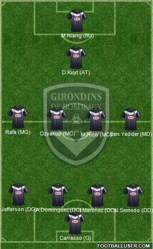 FC Girondins de Bordeaux 4-4-1-1 football formation